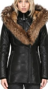 Leather Mackage Coat With Fur
